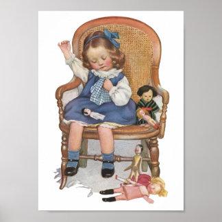 小さな女の子及び人形のヴィンテージの広告ポスター ポスター