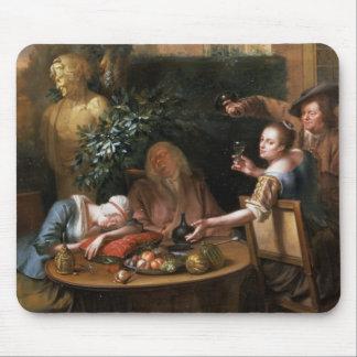 小作人は女性のための飲み物を間、彼女のhusb注ぎます マウスパッド