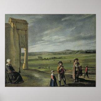 小作人、c.1640との景色 ポスター