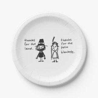 小児マヒをありがとうは感謝祭の物の一面をおおいます ペーパープレート
