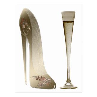 小剣の靴およびシャンペン ポストカード
