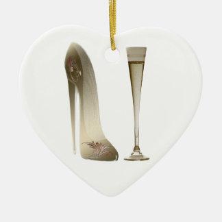小剣の靴のハイヒールの芸術およびシャンペンフルート セラミックオーナメント