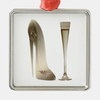 小剣の靴のハイヒールの芸術およびシャンペンフルート メタルオーナメント