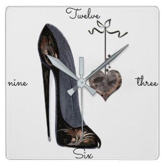 小剣の靴の芸術の時計 スクエア壁時計