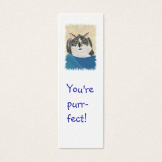 小型しおりカード、タキシード猫 スキニー名刺
