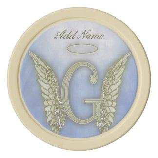小型の天使のモノグラムの手紙G ポーカーチップ