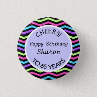 小型シェブロンお祝いの第65誕生日か記念日 3.2CM 丸型バッジ