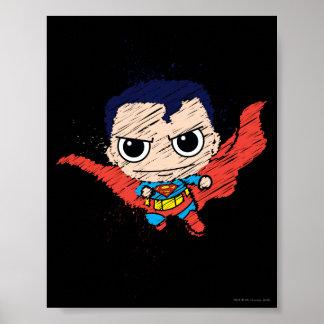 小型スーパーマンのスケッチ プリント