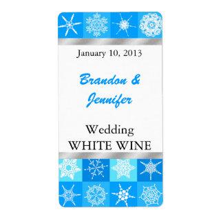 小型ワインのラベルを結婚するかわいらしい雪片 ラベル