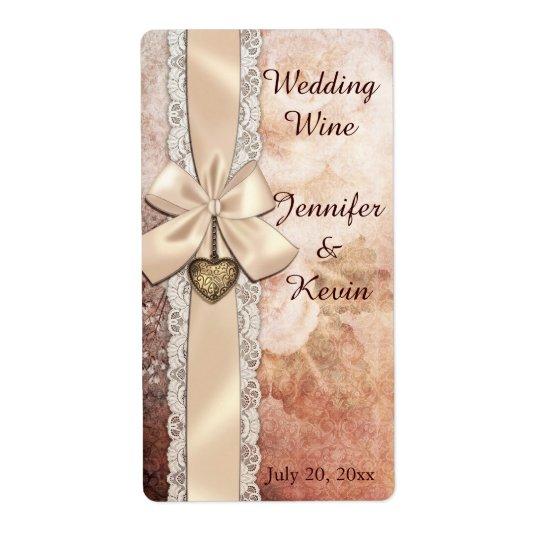 小型ワインのラベルを結婚するエレガントなリボンおよび花柄 発送ラベル