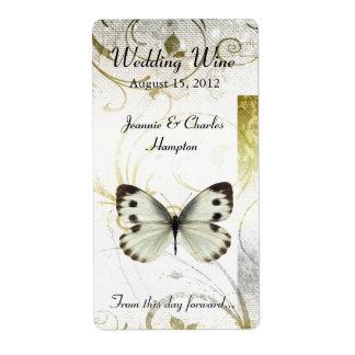 小型ワインを結婚する金華麗さ及び蝶 ラベル