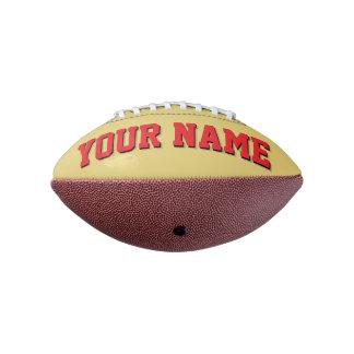 小型古い金ゴールドおよび赤く名前入りなフットボール アメリカンフットボール