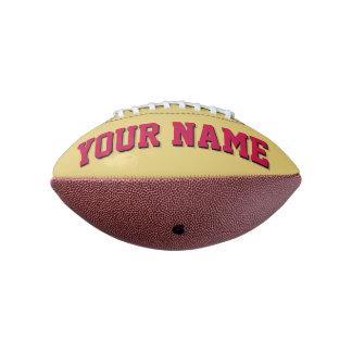 小型古い金ゴールドの深紅の名前入りなフットボール アメリカンフットボール
