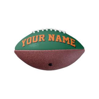 小型緑およびオレンジ名前入りなフットボール アメリカンフットボール