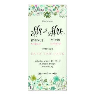 小型花は日付の結婚式の招待を救います マグネットカード