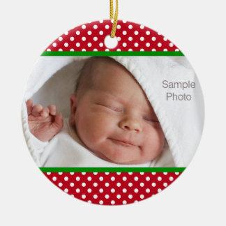 小型赤く白い水玉模様のクリスマスの赤ん坊の写真 セラミックオーナメント