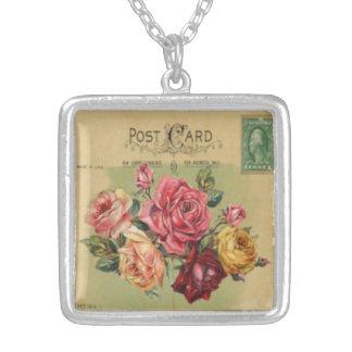 小型郵便はがき: ばら色の花束 シルバープレートネックレス
