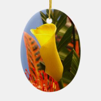 小型黄色いオランダカイウユリ セラミックオーナメント