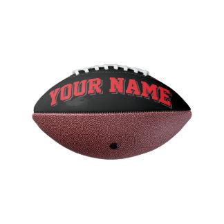 小型黒い赤および木炭名前入りなフットボール アメリカンフットボール