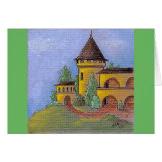 """""""小型3つをパステル調の芸術の景色の挨拶状城郭で囲んで下さい カード"""