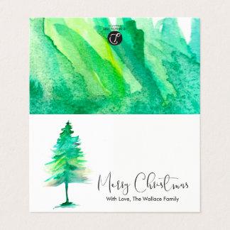 小型-メリークリスマス、水彩画Pinetreeの原稿 カード