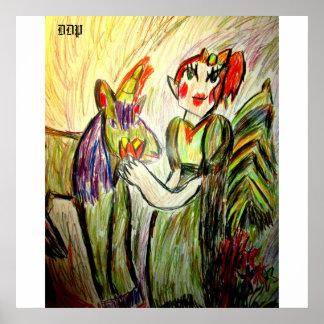 小妖精や小人およびユニコーンの芸術1 ポスター