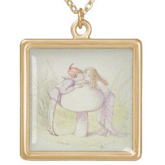 小妖精や小人および妖精 ゴールドプレートネックレス