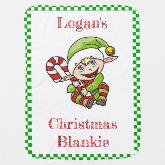小妖精や小人が付いている名前入りなクリスマスのベビーブランケット ベビー ブランケット