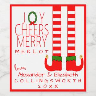 小妖精や小人のクリスマスのメルローのワイン・ボトルのラベルは個人化なります ワインラベル