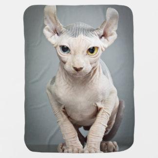 小妖精や小人のスフィンクス猫の写真 ベビー ブランケット
