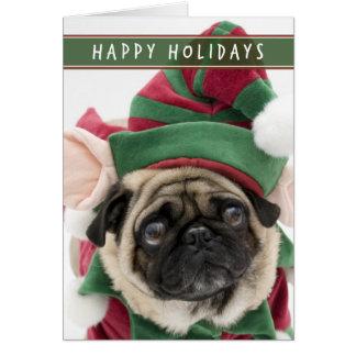 小妖精や小人のパグのクリスマスカード グリーティングカード