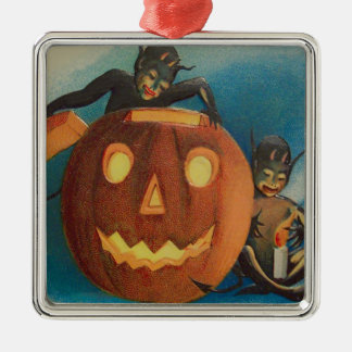 小妖精や小人の小悪魔の蝋燭のジャックOのランタンのカボチャ メタルオーナメント
