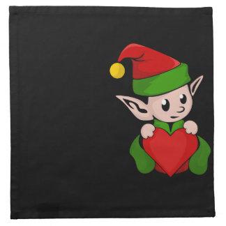 小妖精や小人の赤いハート ナプキンクロス