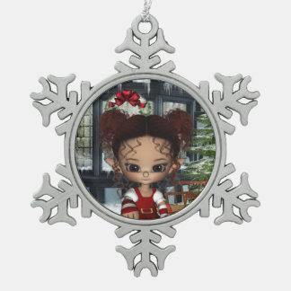 小妖精や小人魔法キャンデーのクリスマスのオーナメント スノーフレークピューターオーナメント