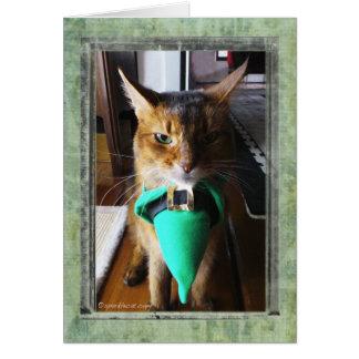 小妖精猫のセントパトリックの日の挨拶状 カード