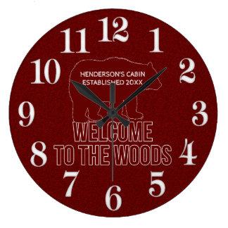 小屋は赤に日付の森林くまを確立しました ラージ壁時計