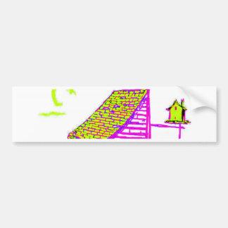 小屋、木、巣箱、花 バンパーステッカー