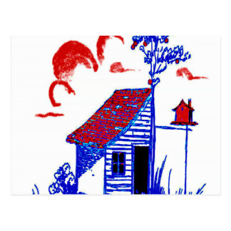小屋、木、巣箱、花 ポストカード