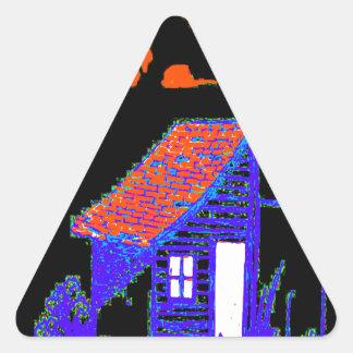 小屋、木、巣箱、花 三角形シール