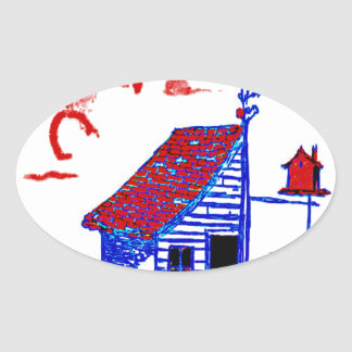 小屋、木、巣箱、花 楕円形シール