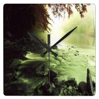 小川の川 スクエア壁時計