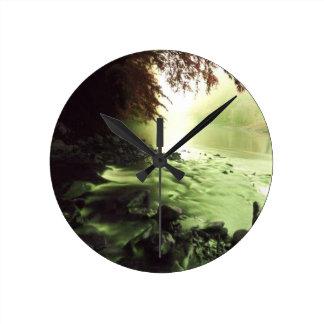 小川の川 ラウンド壁時計