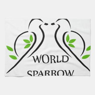 小枝の世界のすずめ日3月20日の2羽のすずめ キッチンタオル