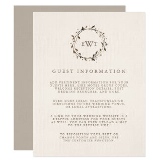 小枝|のモノグラムのリースの結婚式のゲストの詳細 カード