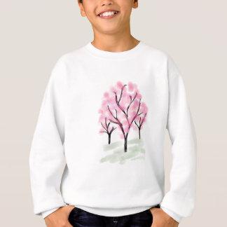 小柄いピンクの花の木-手描きのスケッチ スウェットシャツ
