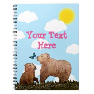 小熊および蝶を持つ母 ノートブック