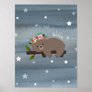 小熊の眠い水彩画の花のベビーの子供部屋 ポスター