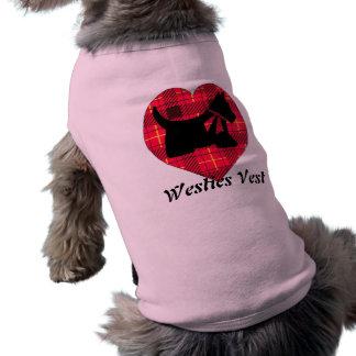 小犬のタータンチェックのハートのタンクトップ ペット服