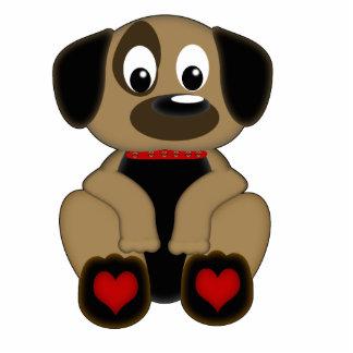 小犬のハート 写真彫刻(台付き)