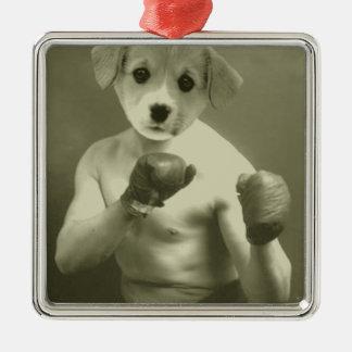 小犬のボクサー メタルオーナメント
